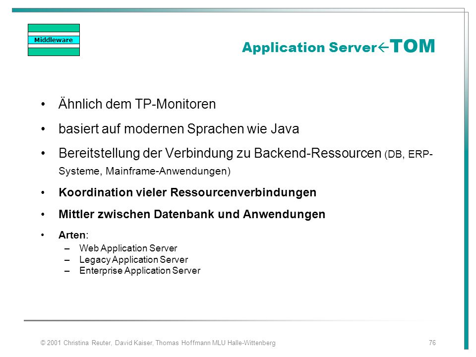 Application ServerTOM