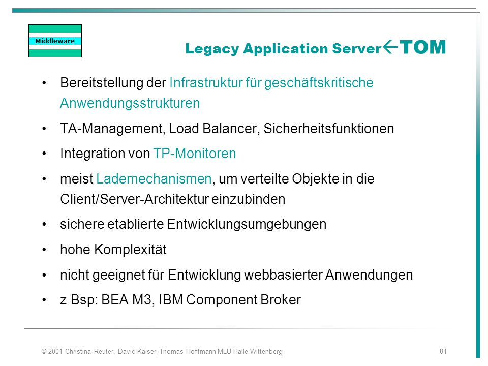Legacy Application ServerTOM