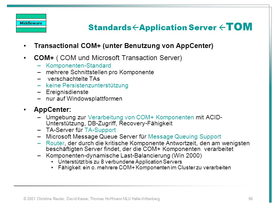 StandardsApplication Server TOM