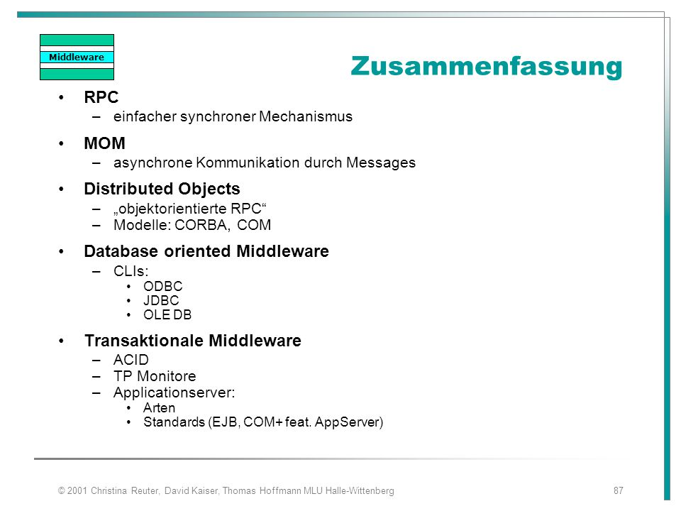 Zusammenfassung RPC MOM Distributed Objects