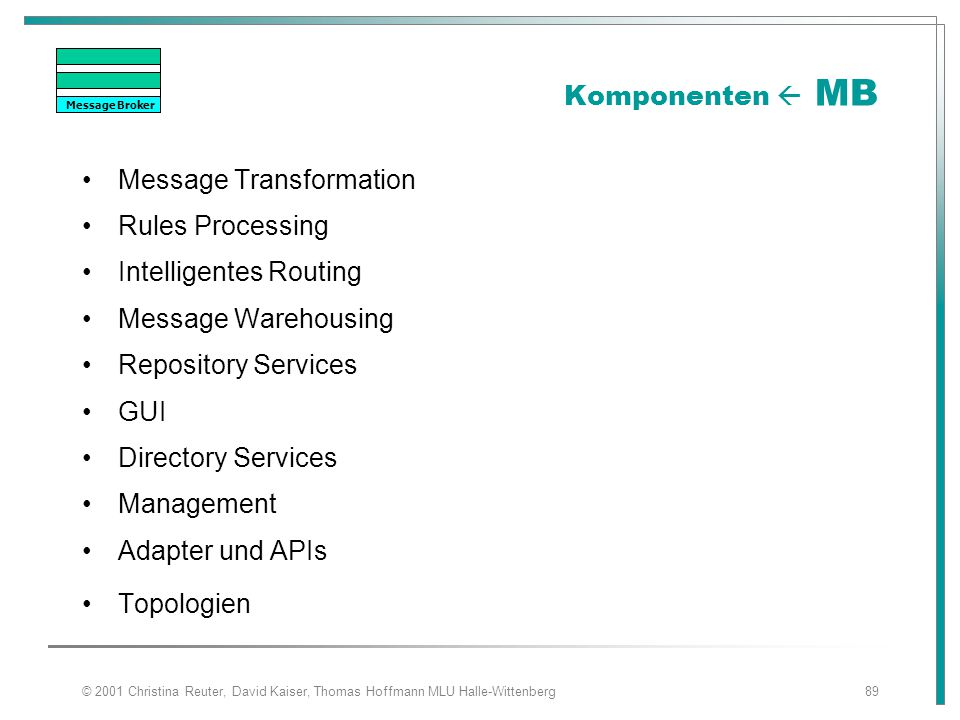 Message Transformation Rules Processing Intelligentes Routing