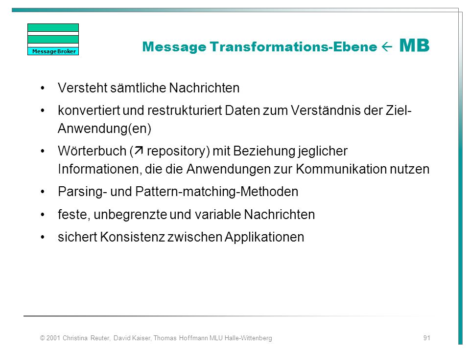 Message Transformations-Ebene  MB