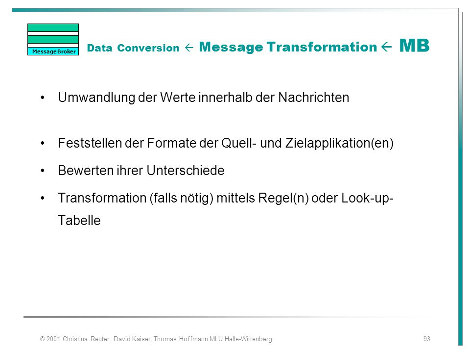 Data Conversion  Message Transformation  MB