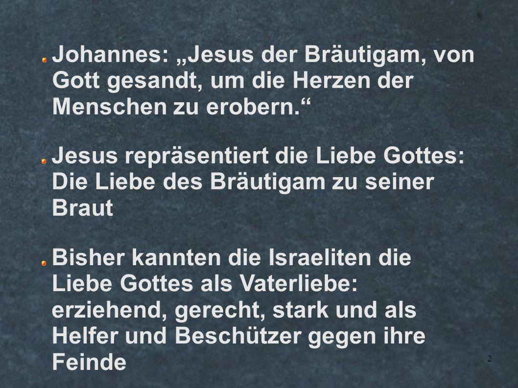 """Johannes: """"Jesus der Bräutigam, von Gott gesandt, um die Herzen der Menschen zu erobern."""
