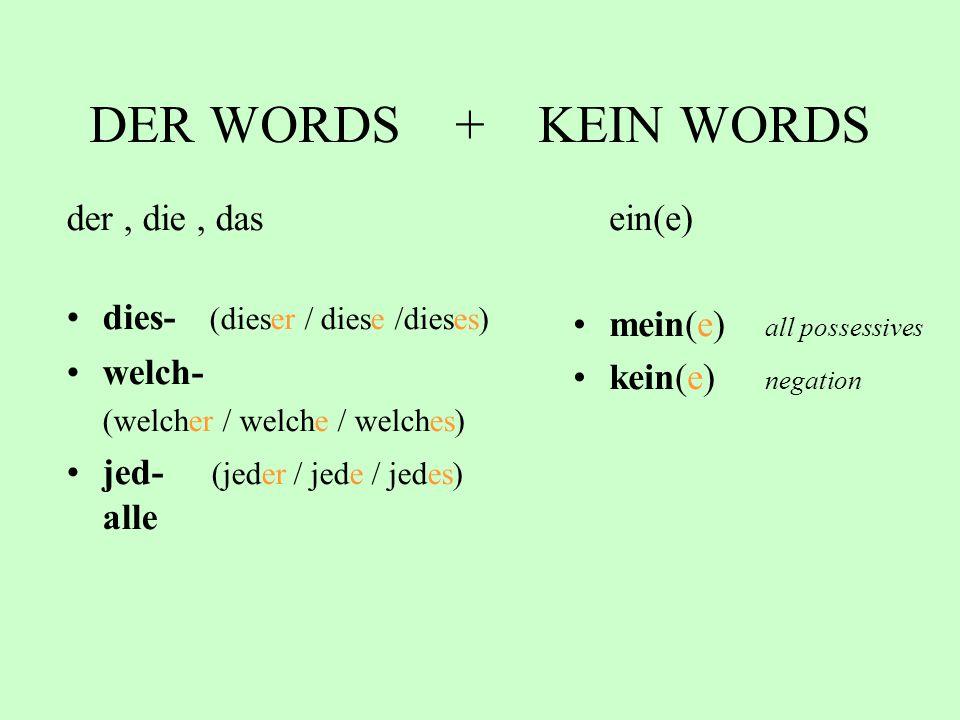 DER WORDS + KEIN WORDS der , die , das dies- (dieser / diese /dieses)