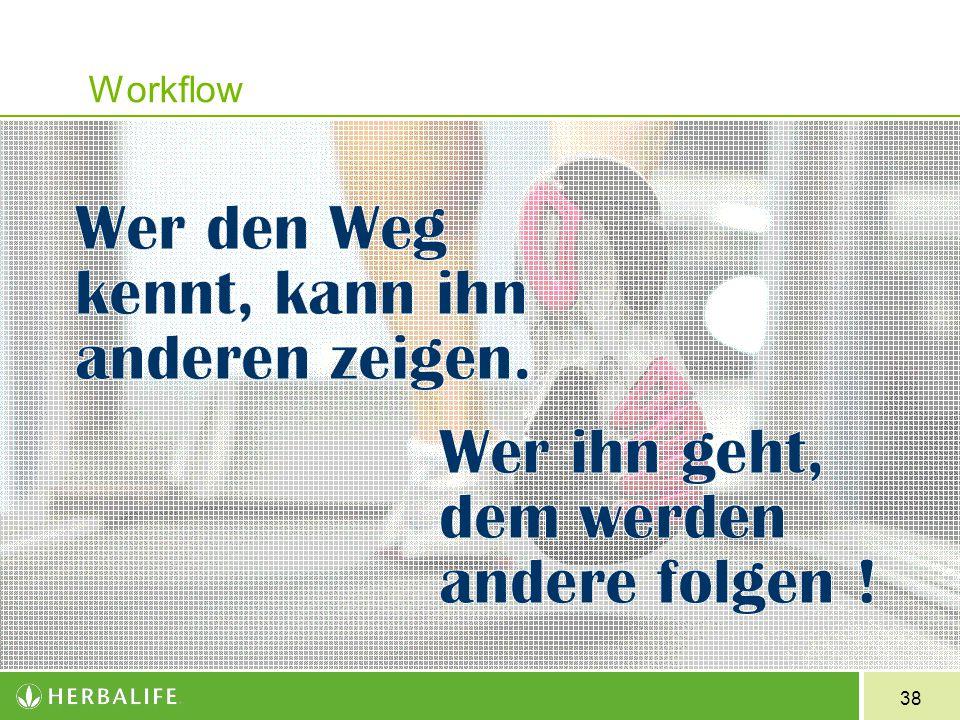 Workflow Wer den Weg kennt, kann ihn anderen zeigen – aber nur wer ihn geht, dem werden andere folgen !