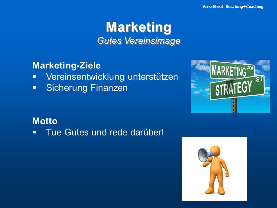 Marketing Gutes Vereinsimage Marketing-Ziele