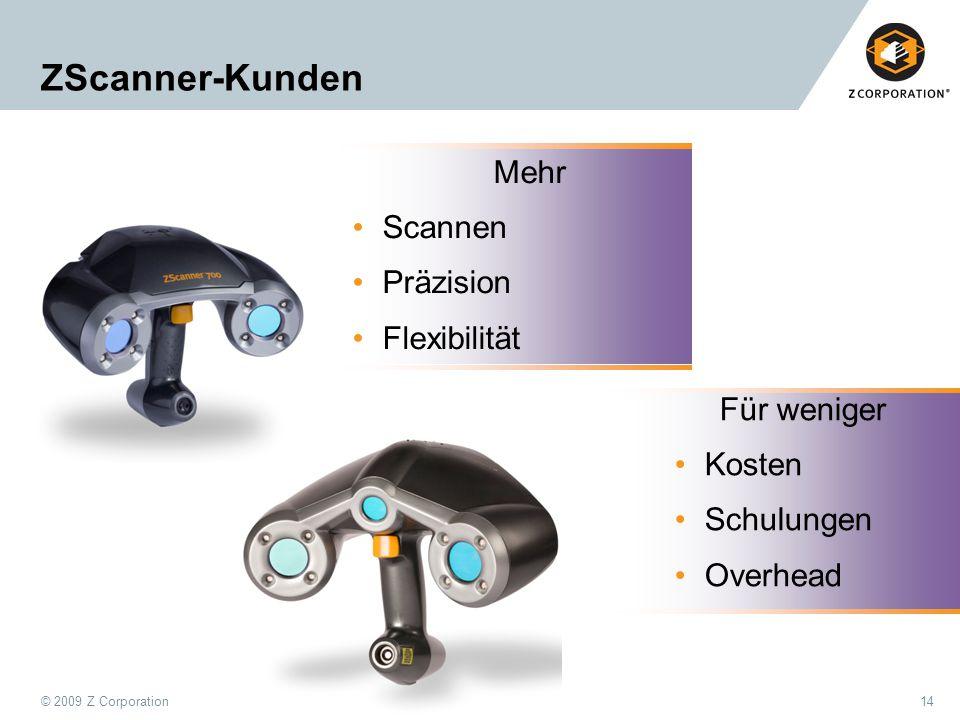 ZScanner-Kunden Mehr Scannen Präzision Flexibilität Für weniger Kosten