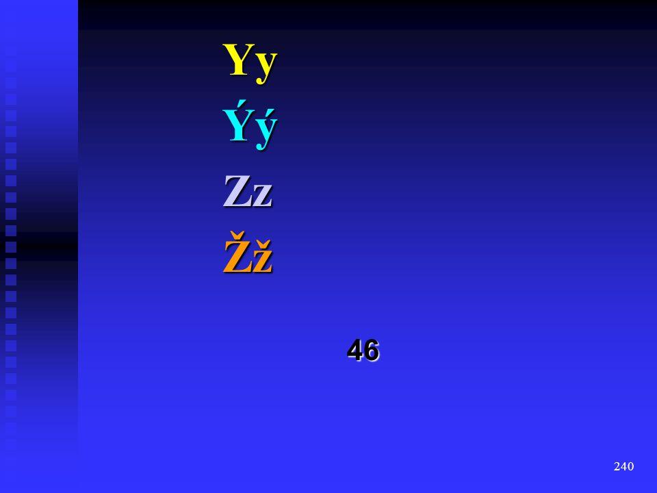 Yy Ýý Zz Žž 46