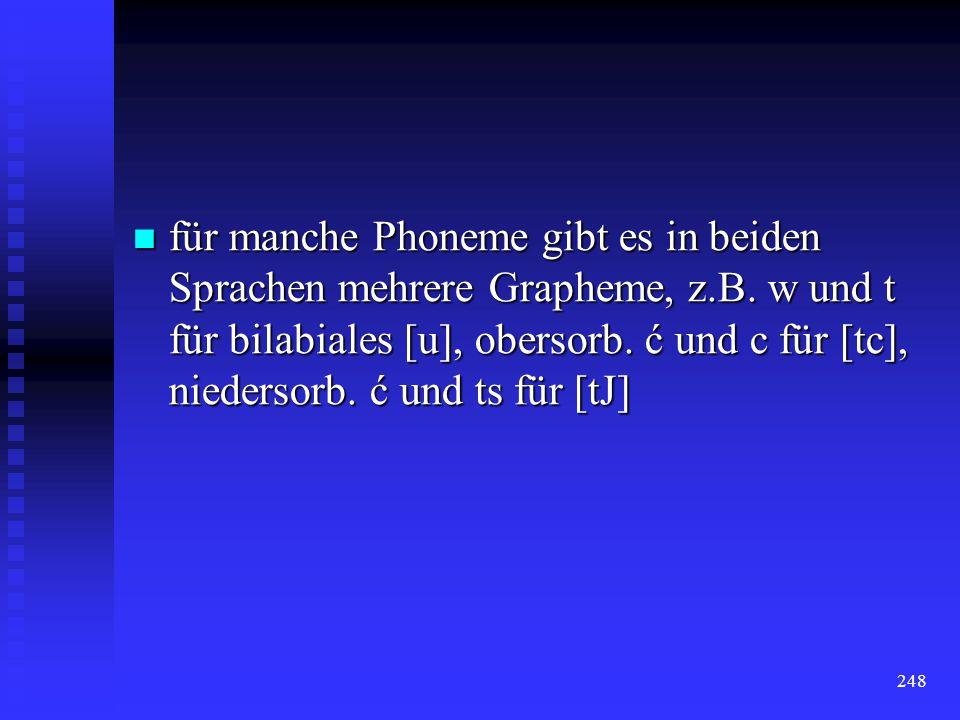 für manche Phoneme gibt es in beiden Sprachen mehrere Grapheme, z. B