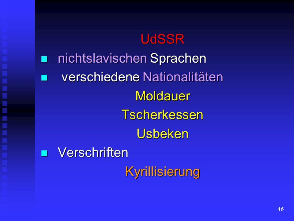 UdSSR nichtslavischen Sprachen. verschiedene Nationalitäten. Moldauer. Tscherkessen. Usbeken. Verschriften.