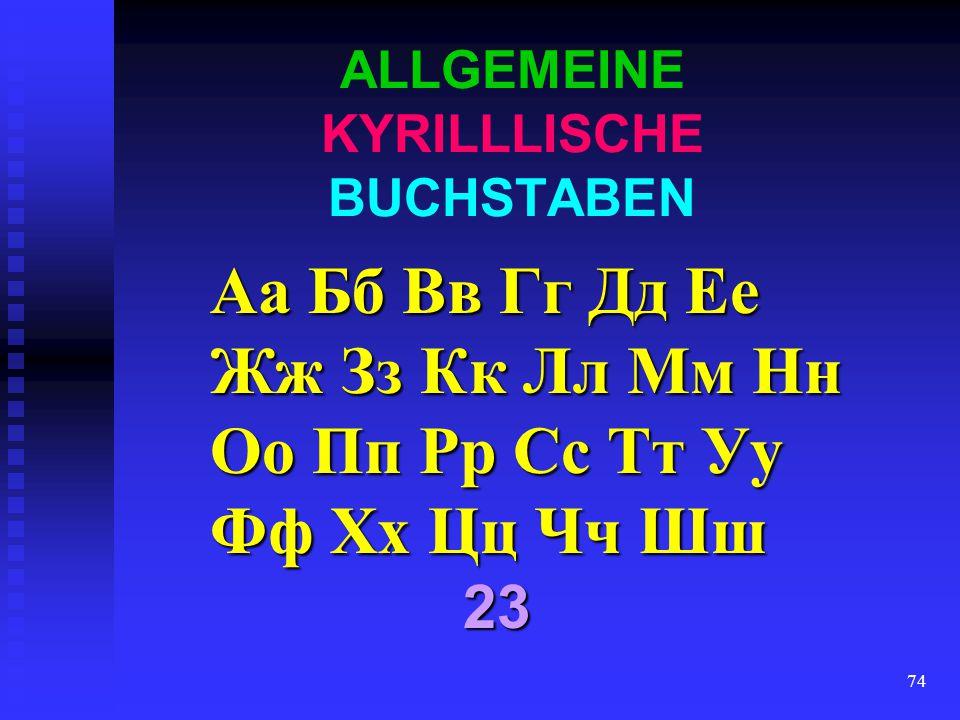 ALLGEMEINE KYRILLLISCHE BUCHSTABEN