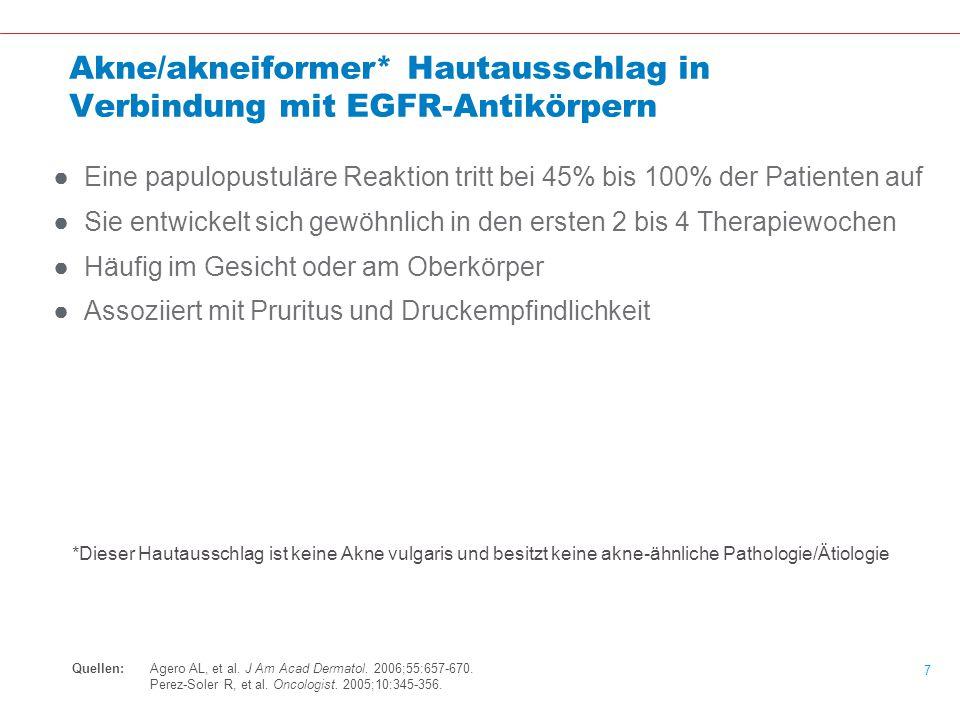 Akne/akneiformer* Hautausschlag in Verbindung mit EGFR-Antikörpern
