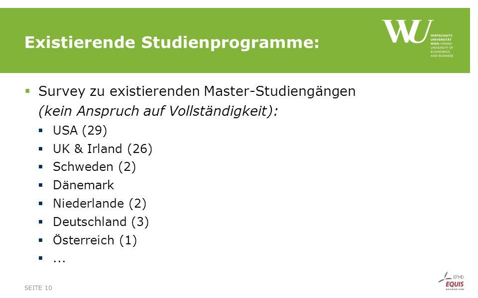 Existierende Studienprogramme: