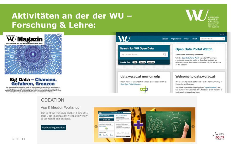Aktivitäten an der der WU – Forschung & Lehre: