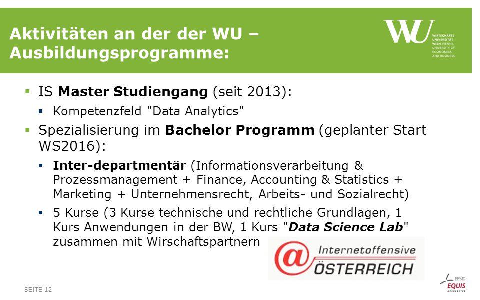 Aktivitäten an der der WU – Ausbildungsprogramme: