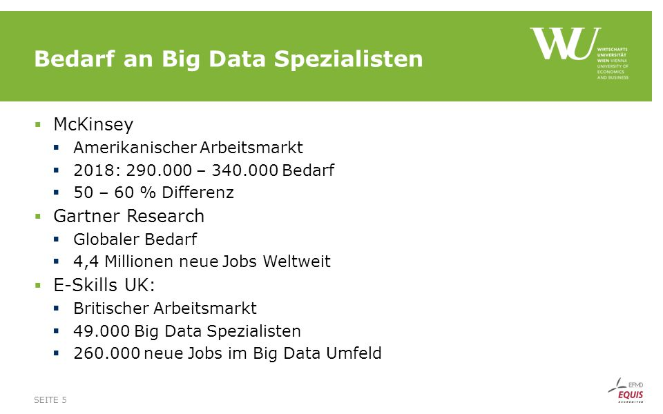 Bedarf an Big Data Spezialisten