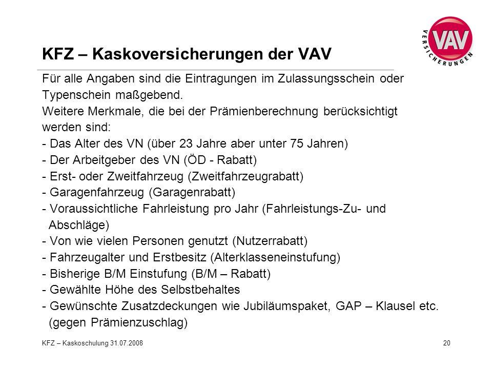 KFZ – Kaskoversicherungen der VAV
