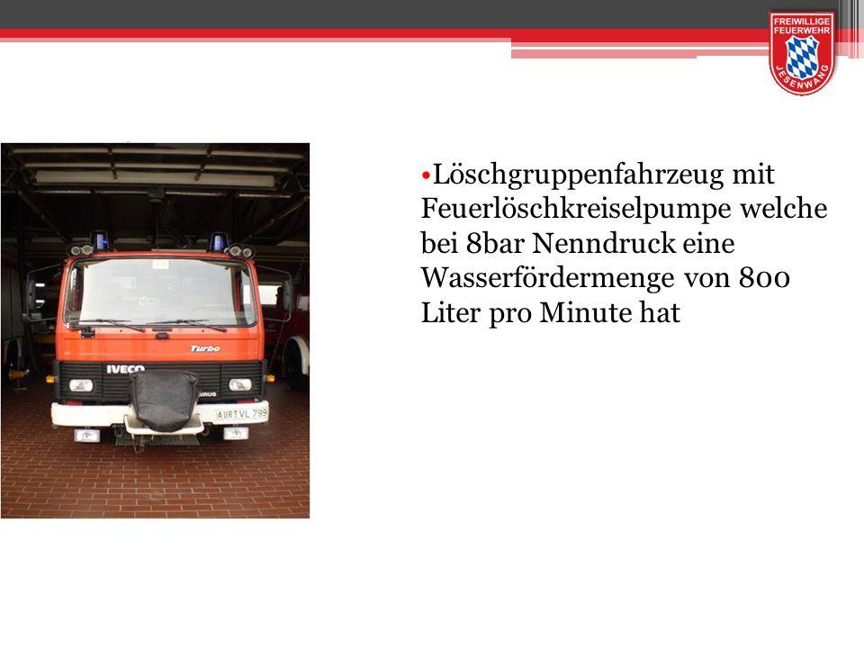 LF 8 Löschgruppenfahrzeug mit Feuerlöschkreiselpumpe welche bei 8bar Nenndruck eine Wasserfördermenge von 800 Liter pro Minute hat.