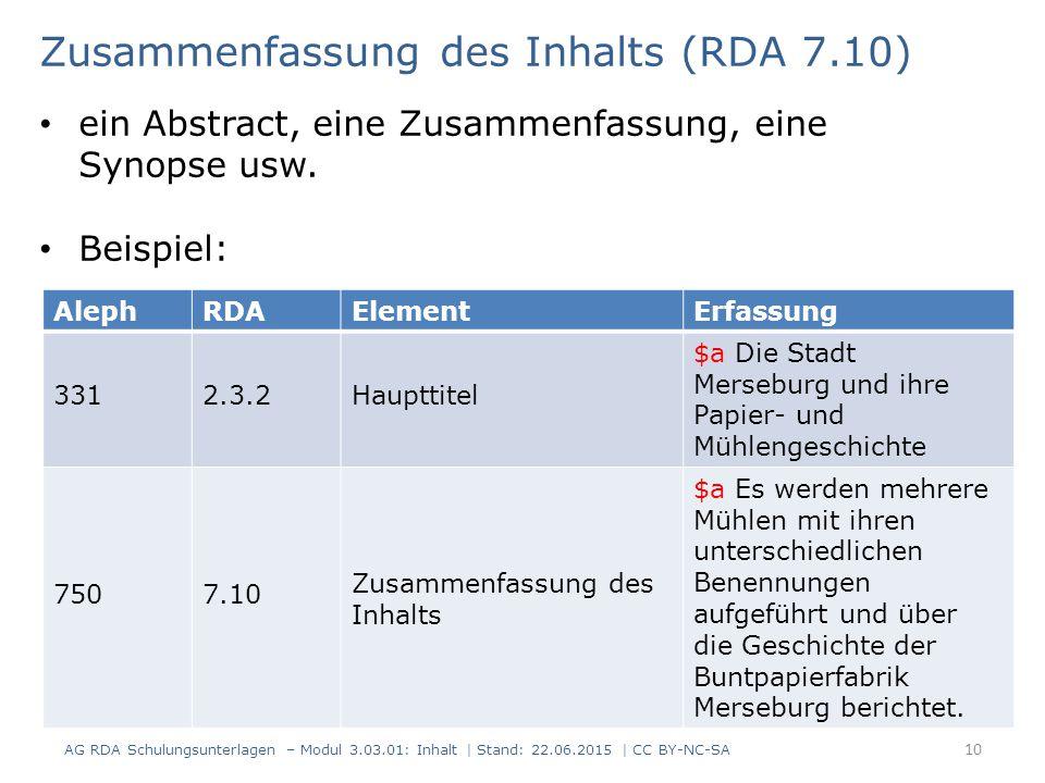 Zusammenfassung des Inhalts (RDA 7.10)
