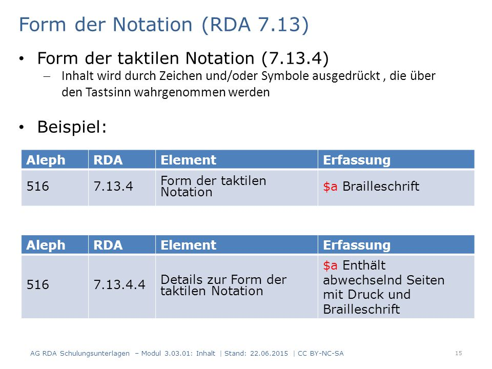 Form der Notation (RDA 7.13)