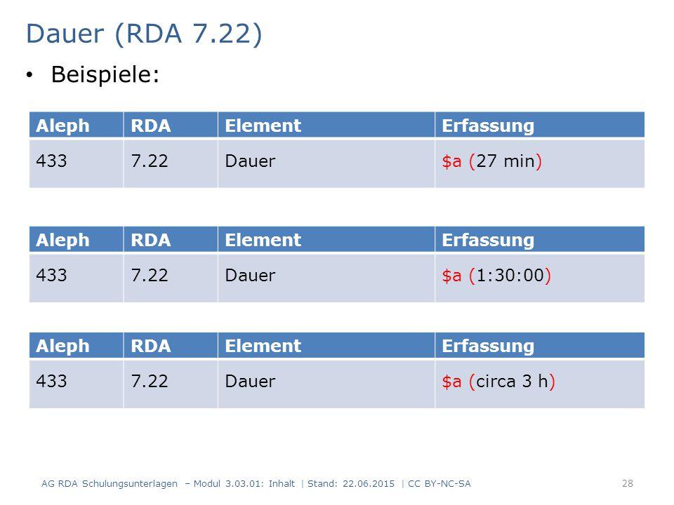 Dauer (RDA 7.22) Beispiele: Aleph RDA Element Erfassung 433 7.22 Dauer