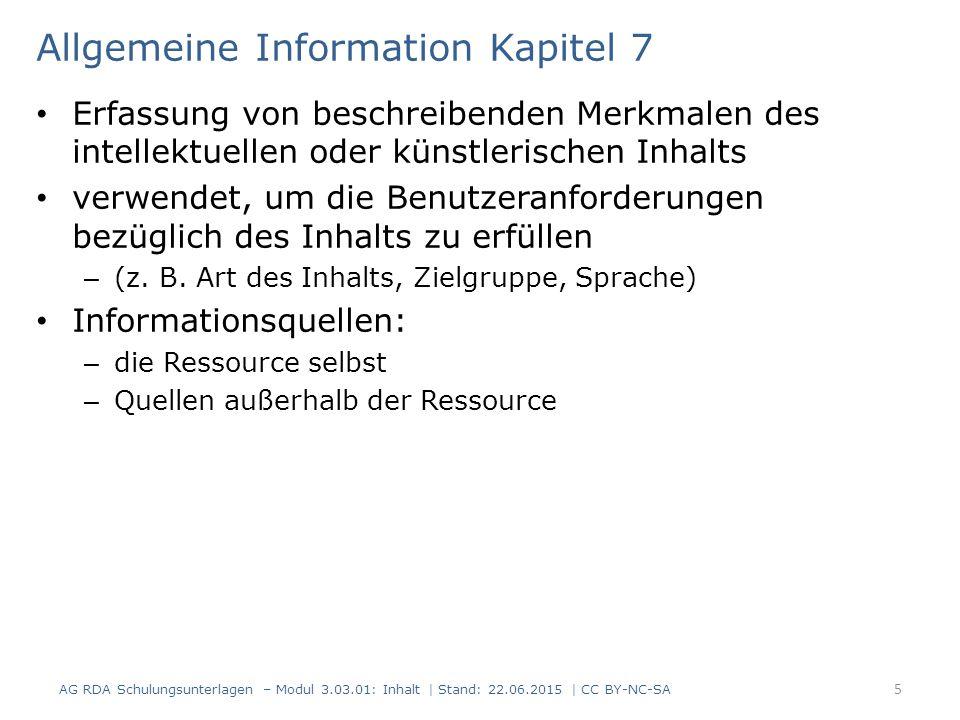 Allgemeine Information Kapitel 7