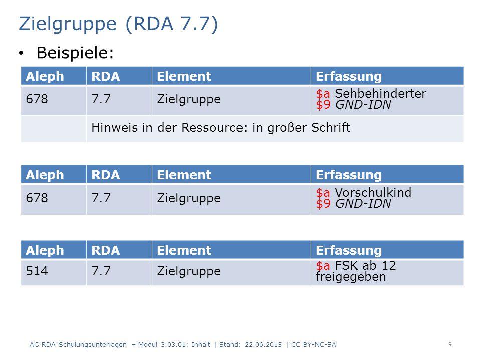 Zielgruppe (RDA 7.7) Beispiele: Aleph RDA Element Erfassung 678 7.7