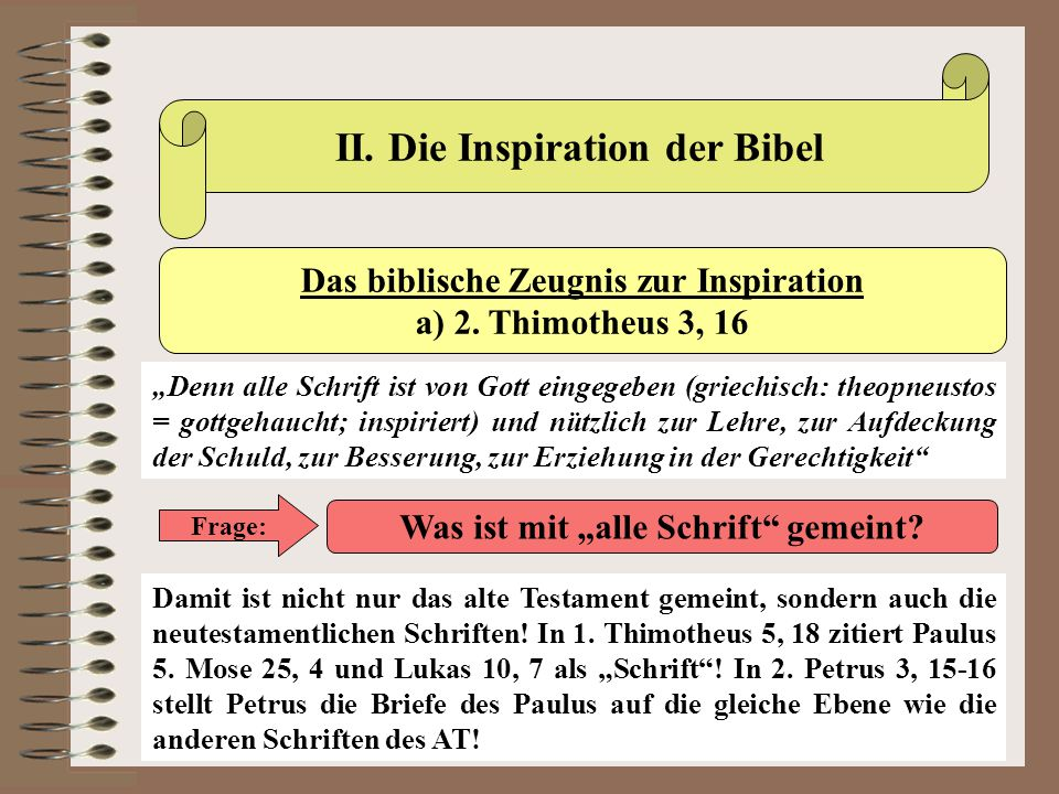 II. Die Inspiration der Bibel
