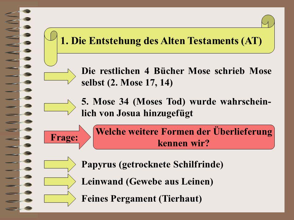 1. Die Entstehung des Alten Testaments (AT)