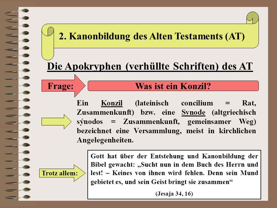 Die Apokryphen (verhüllte Schriften) des AT