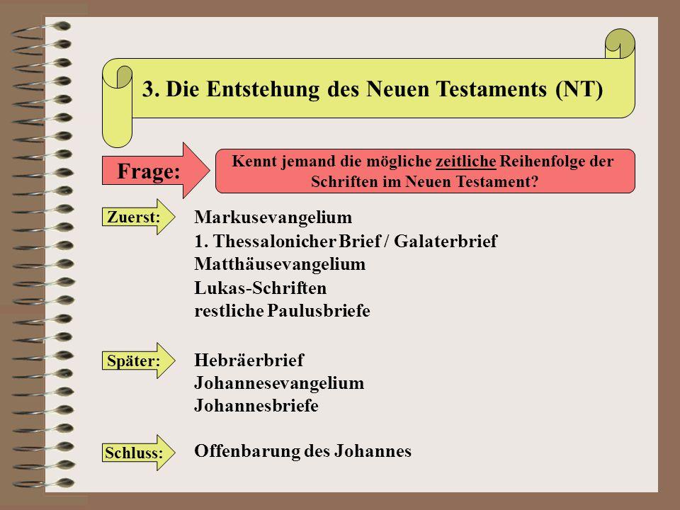 3. Die Entstehung des Neuen Testaments (NT)