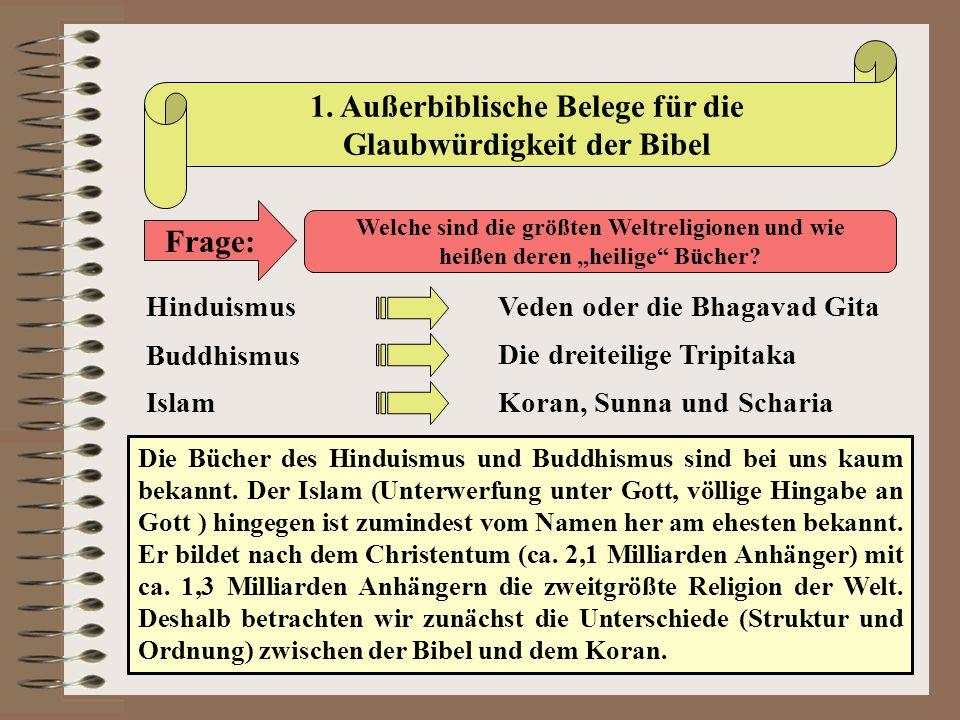 1. Außerbiblische Belege für die Glaubwürdigkeit der Bibel Frage: