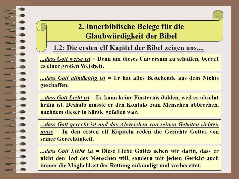 2. Innerbiblische Belege für die Glaubwürdigkeit der Bibel