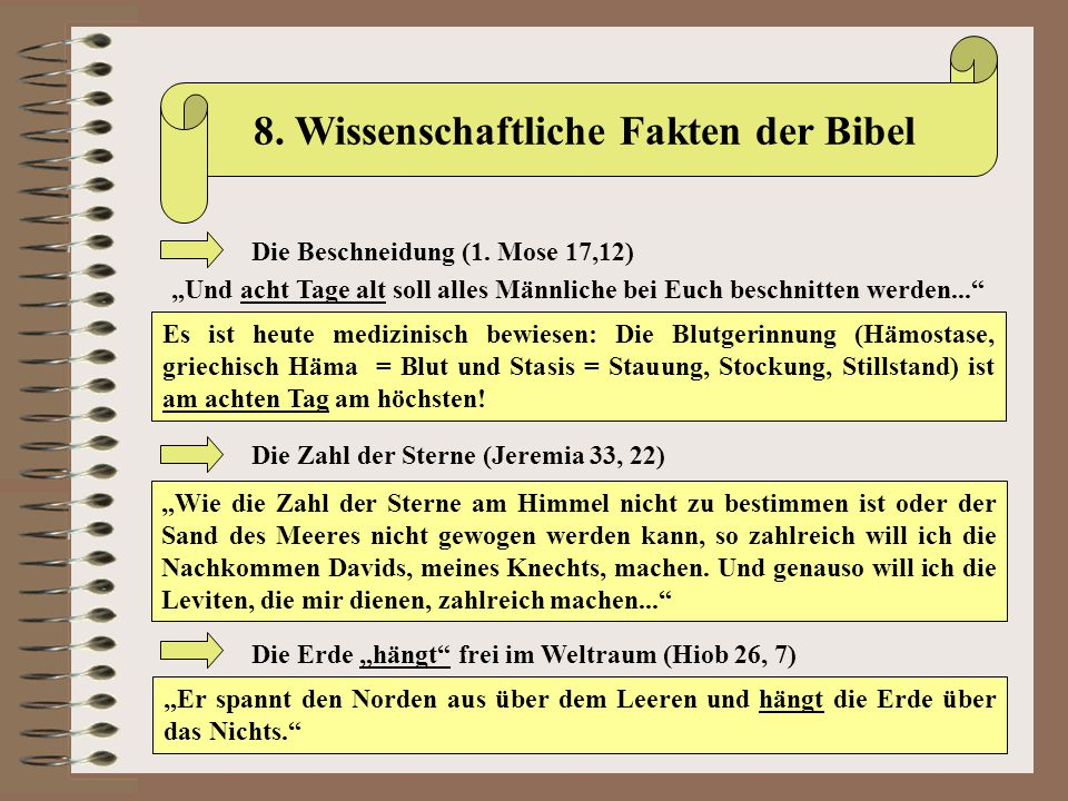 8. Wissenschaftliche Fakten der Bibel