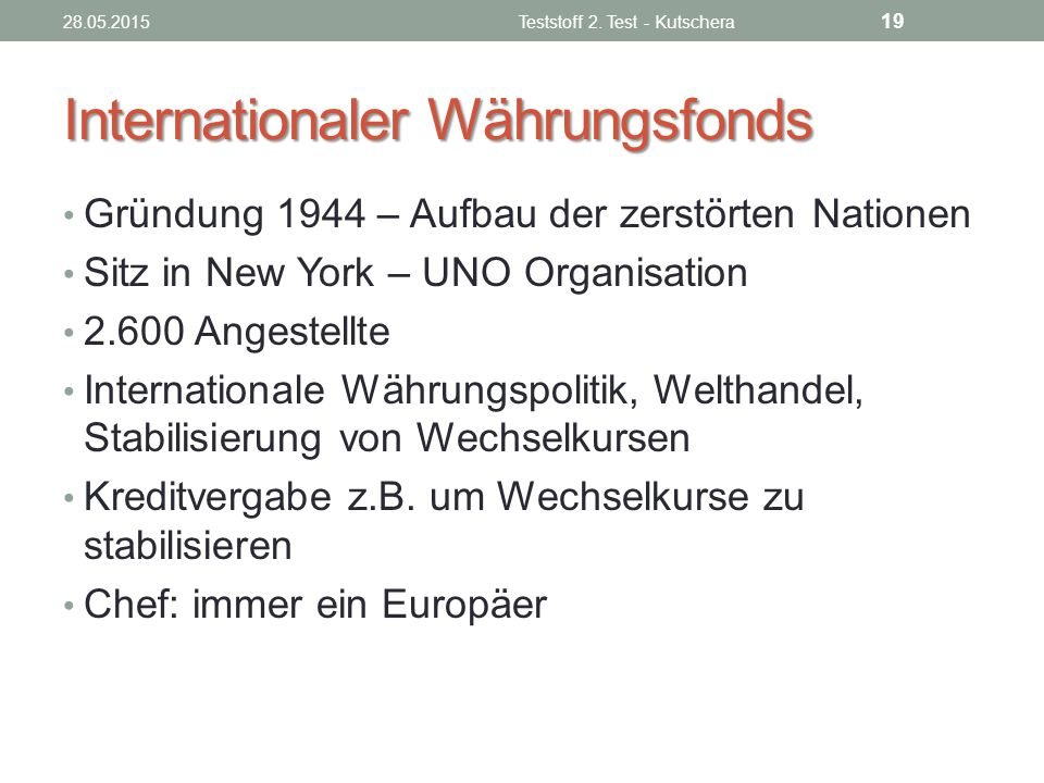 Internationaler Währungsfonds