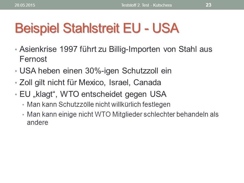 Beispiel Stahlstreit EU - USA
