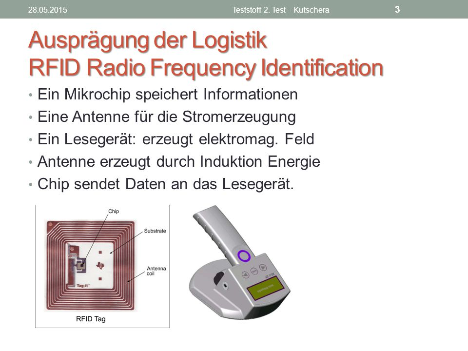 Ausprägung der Logistik RFID Radio Frequency Identification