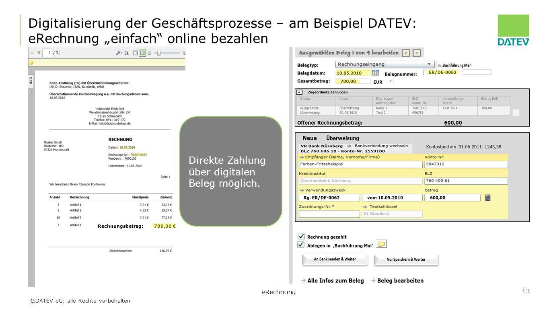 """Digitalisierung der Geschäftsprozesse – am Beispiel DATEV: eRechnung """"einfach online bezahlen"""