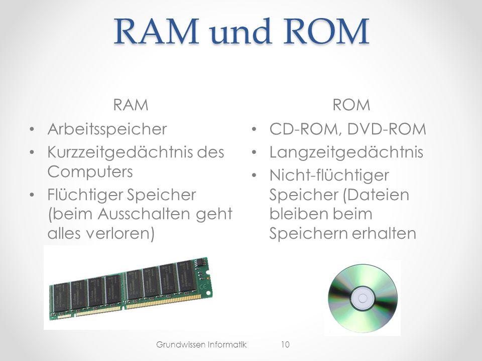 RAM und ROM RAM ROM Arbeitsspeicher Kurzzeitgedächtnis des Computers