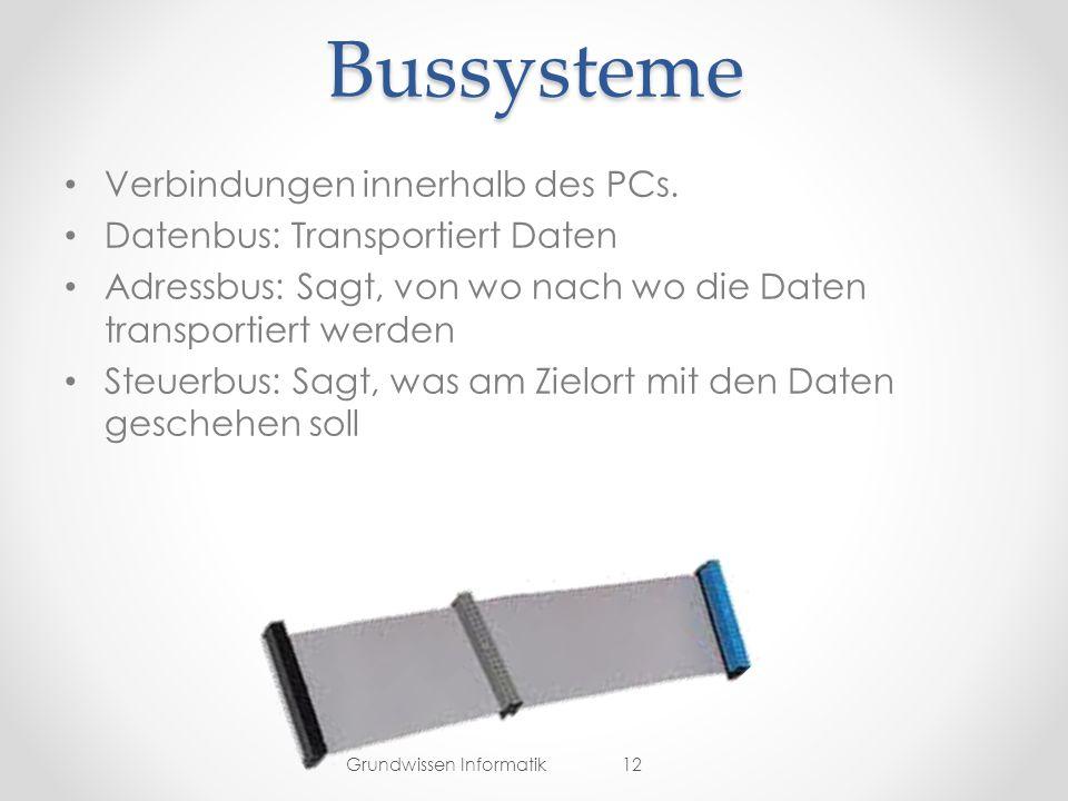Bussysteme Verbindungen innerhalb des PCs.