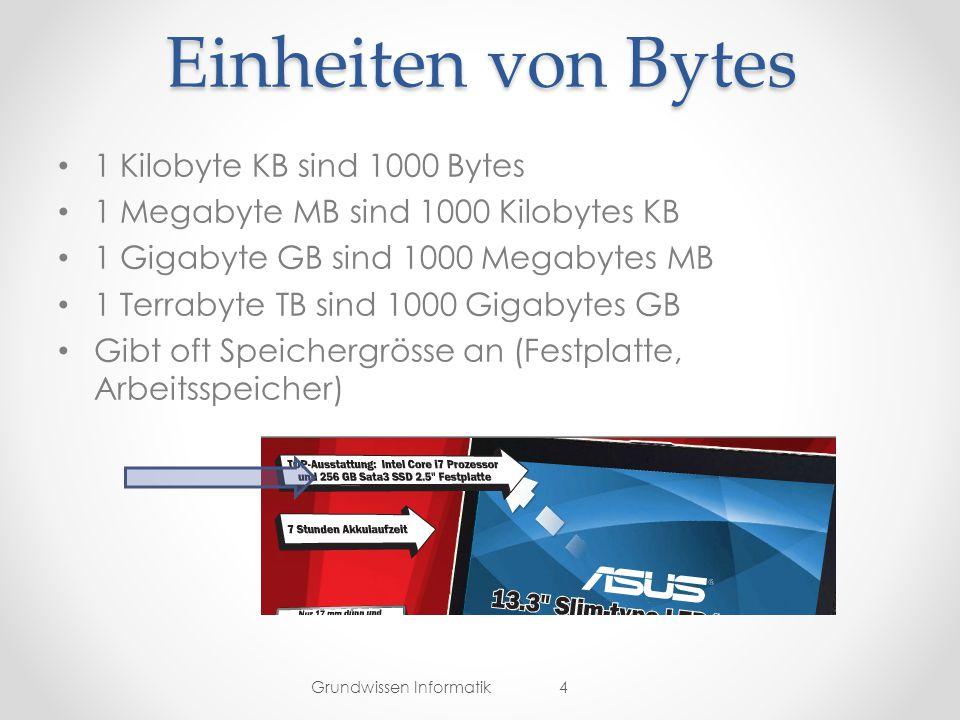 Einheiten von Bytes 1 Kilobyte KB sind 1000 Bytes