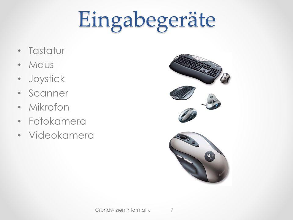 Eingabegeräte Tastatur Maus Joystick Scanner Mikrofon Fotokamera