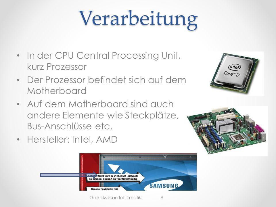Verarbeitung In der CPU Central Processing Unit, kurz Prozessor