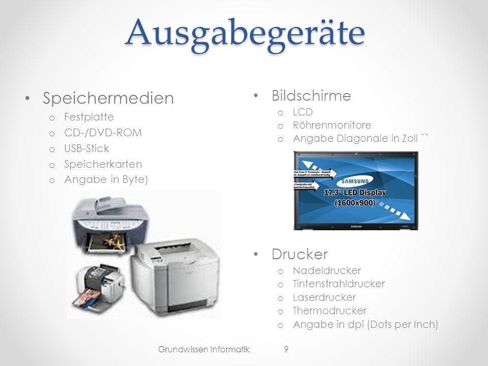 Ausgabegeräte Speichermedien Bildschirme Drucker Festplatte