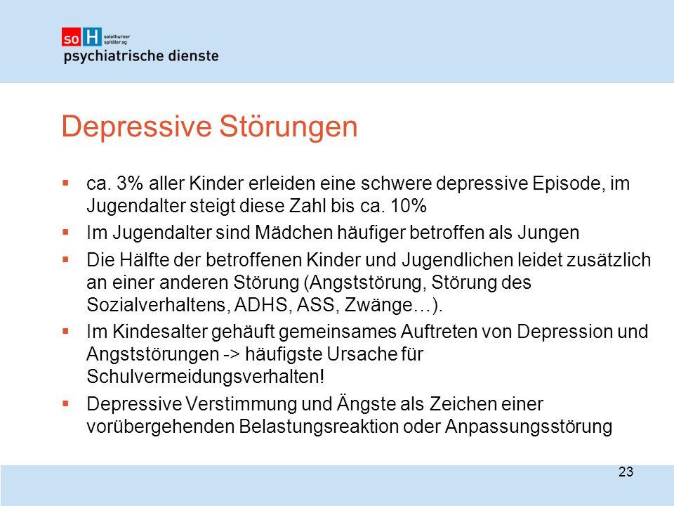 Depressive Störungen ca. 3% aller Kinder erleiden eine schwere depressive Episode, im Jugendalter steigt diese Zahl bis ca. 10%