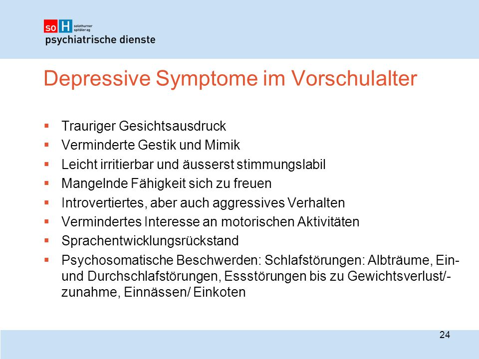 Depressive Symptome im Vorschulalter