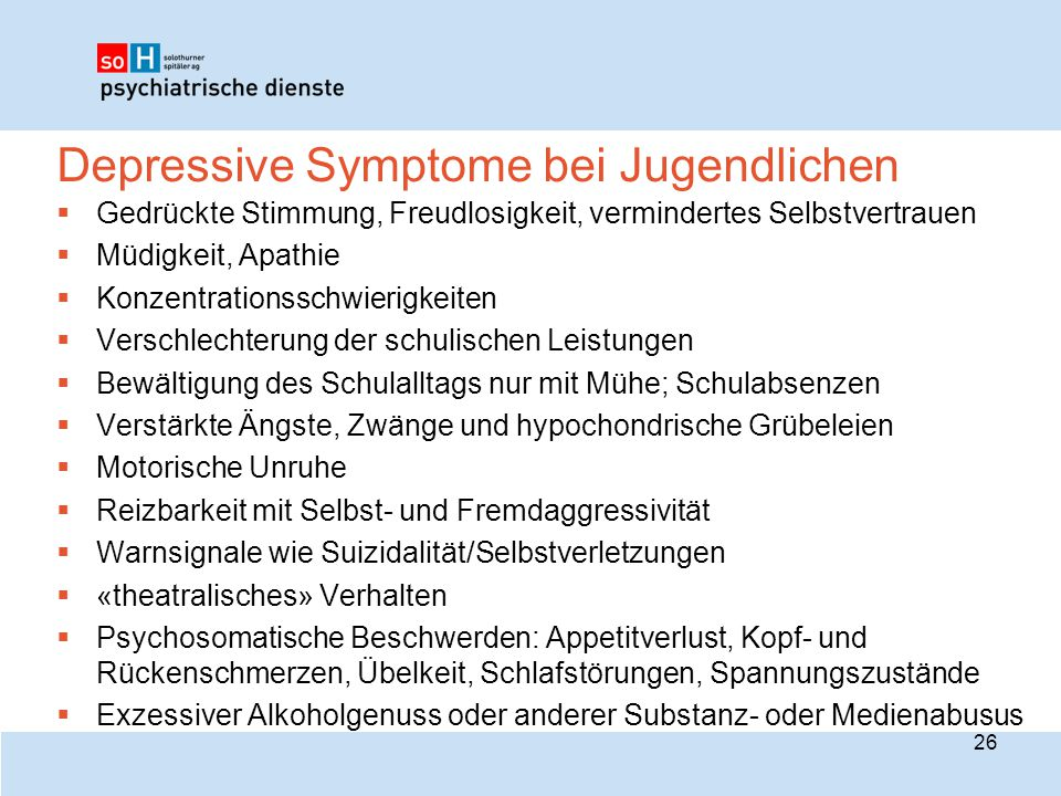 Depressive Symptome bei Jugendlichen