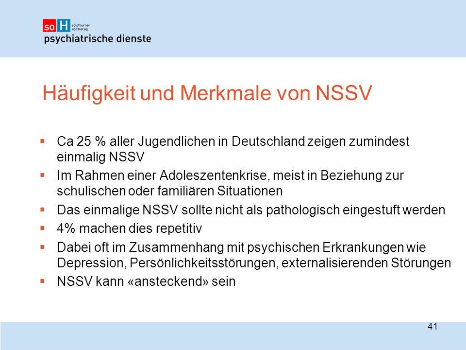Häufigkeit und Merkmale von NSSV