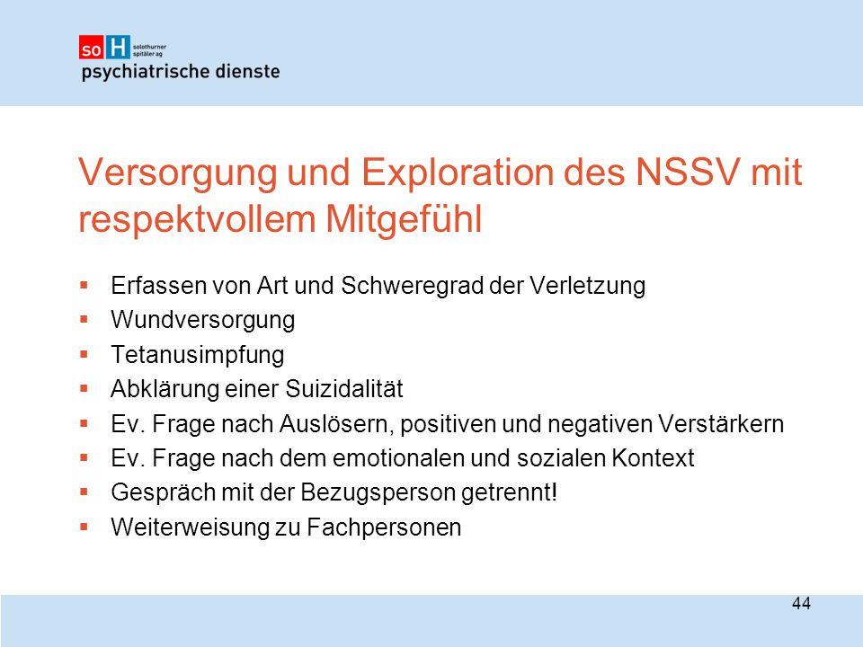Versorgung und Exploration des NSSV mit respektvollem Mitgefühl